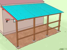 How to Add a Lean To Onto a Shed. When your shed or other storage building no longer provides enough room, you can add additional storage if you add a lean-to onto a shed. If the existing shed is structurally sound and has an exterior wall. Shed Organization, Shed Storage, Built In Storage, Extra Storage, Outdoor Projects, Home Projects, Lean To Roof, Lean To Carport, Terrasse Design