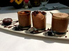 #dessert #chocolate #cake #cremebrulee  Chocolate Lover's Sampler Flourless chocolate cake, shots of chocolate panna cotta, chocolate creme brulee, and chocolate mousse (gluten-free)