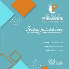 Inauguración de la Escuela de Pensamiento 2019-2  #Unicartagena #Bienestar Am Pm, Chart, Senior Boys, Wellness, Activities, Thoughts