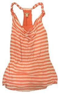 Banana Republic Striped Racer-back Top Coral/White