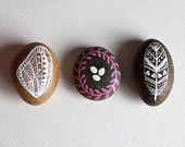 Nesting Stone Set - Hand Painted Stones - Original Painting - Rock Art, Painted Pebbles