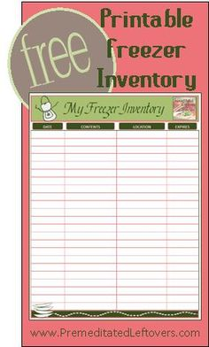 1000 Ideas About Freezer Inventory Printable On Pinterest