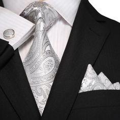 Silver Paisley Necktie Set JPM18A99