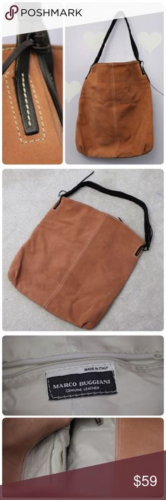 Marco Buggiani Italy Genuine Leather Hobo Bag Never been used. Genuine leather hobo handbag by Marco Buggiani.   Doesnt come with a dust bag. Zipper closure. Two pockets inside.  Size: 14.5 x 16 marco buggiani Bags Hobos