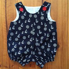 Baby Romper Boy Navy Blue Nautical by SpirwellSewing on Etsy
