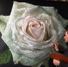 This exceptional hyper realistic color rose oil on canvas painting is a creation of Gioacchino Passini, an artist based in Bologna, Italy! An extremely talented painter […] Art Floral, Pencil Photo, Hyper Realistic Paintings, Pastel, Italian Artist, Beautiful Roses, Pencil Drawings, Rose Drawings, Flower Art