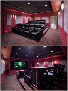 6. Rule 4  This is anoter red and black combo home theatre with three levels of seating in which the front two levels have seats and the last and upper most level has a bar style table.