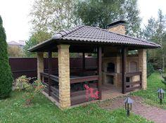 Diy Outdoor Bar, Outdoor Kitchen Patio, Outdoor Kitchen Design, Outdoor Rooms, Outdoor Gardens, Diy Gazebo, Patio Gazebo, Backyard Pavilion, Backyard Patio Designs
