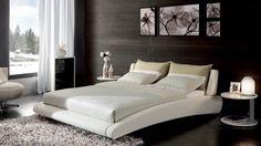Cadillac White Leather Bed  Zuri Furniture