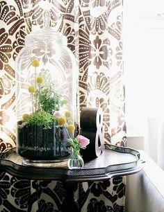 Fazer um terrário pequeno doce com este tutorial:  http://makingitlovely.com/2012/04/17/diy-terrarium/