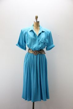 Plus SIze Vintage Dress Turquoise Blue Day by SIZEisJUSTaNUMBER, $49.00