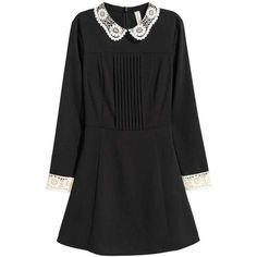 Dress with a lace collar (730 MXN) ❤ liked on Polyvore featuring dresses, long-sleeve mini dress, lace dress, circle skirt, pleated dress and pleated circle skirt