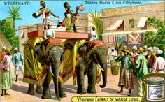 Hindu theatre on the backs of Elephants by Anonymous