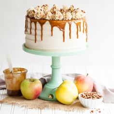 Apple Toffee Crunch Cake - fresh apple cake with crunchy pecans, cinnamon buttercream and a toffee sauce drip.