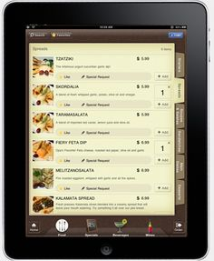 In Ipad interactive menu and User Interface.