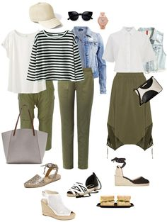 Ensemble: Olive, White, Denim & Espadrilles - YLF.... I don't do olive but this would look amazing with my maroon jeans