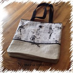 """Tote-bag ou cabas rétro """"la parisienne"""" en lin lamé argenté et galon noir : Sacs à main par nymeria-creation"""