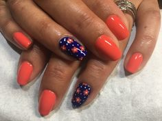 summer nails using a combo of OPI live love carnival & OPI my car has navygation