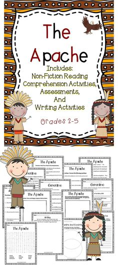 The Apache - This activity book includes reading comprehension activities and more! #tpt #reading  #apache