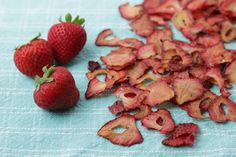 Oven-dried Strawberries from yummytoddlerfood.com—like the freeze-dried ones you can buy at the store, only a lot less expensive!