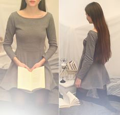 Get this look: http://lb.nu/look/6920122  More looks by Ariadna Majewska: http://lb.nu/ariadna92  Items in this look:  Grey Flared Dress   #artistic #minimal #romantic