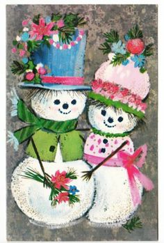 Vintage Glittered Snowman & Lady Christmas Greeting Card