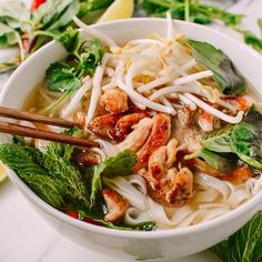 This delicious chicken pho recipe tastes like you simmered it for hours, but it can be prepared in just 20 minutes, with a few simple ingredients. Vietnamese Recipes, Asian Recipes, Healthy Recipes, Ethnic Recipes, Vietnamese Noodle, Indonesian Recipes, Asian Desserts, Fruit Recipes, Salads