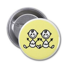 Twins -stick figures pinback button