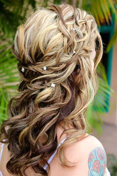 half up wedding hairstyles for long hair with veil - Google Search