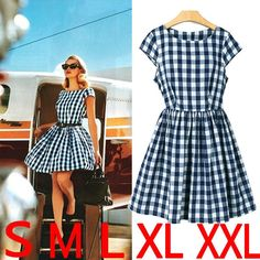 Short Sleeves Scoop Plaid Pleated Short Fashion Dress