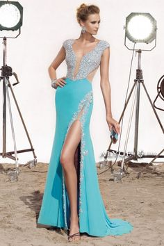 Sparkling beaded mesh jersey long gown prom dress