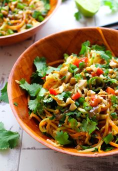 Veggie Pad Thai Zoodles and Peanut Dressing | www.asaucykitchen.com