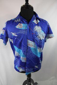 Vintage Barefoot Trader Hawaiian Shirt Men's Casual Sz Small Blue Flowers Birds by Funkyvintagebycheri on Etsy
