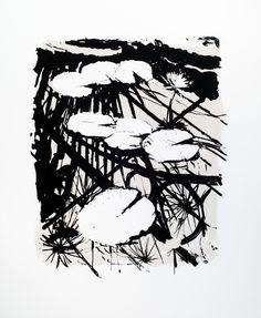 Artist Stephen Robson Print titled 'Kew Waterlilies' screenprint, Two colour screenprint 70 x 60 cm approx. Small edition of 5