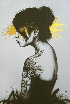 """Moonchild"" - Fin DAC, Dragon Amoury Creative {contemporary figurative graffiti artist beautiful female head shoulder woman face profile portrait painting #loveart}"