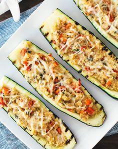 Quinoa Stuffed Grilled Zucchini