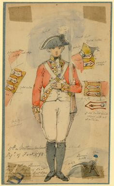 British; 5th (Northumberland) Regiment of Foot, Private Centre Company, 1792. Uniform study by Edward Scott