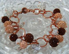 Copper Bling Ball Charm Bracelet by DesignsByJuneBug on Etsy