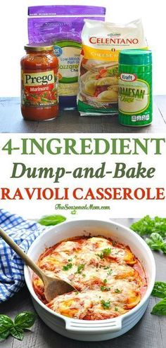 With just 4 ingredients and 5 minutes of prep my DumpandBake Ravioli Casserole is an easy dinner recipe that the whole family will love Pasta Freezer Meal Freezer Frien. Baked Ravioli Casserole, Pasta Casserole, Oven Baked Ravioli, Vegitarian Casserole Recipes, Easy Dinner Casserole, Ravioli Lasagna Bake, Crockpot Ravioli, Ravioli Sauce, Casserole To Freeze