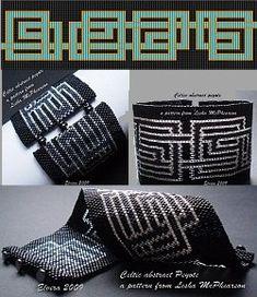 Loom or 1 Drop Even Peyote Pattern - Celtic Abstract Cuff Bracelet.