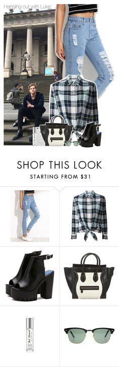 """""""Hanging out with Luke"""" by xcuteniallx ❤ liked on Polyvore featuring Equipment and Ray-Ban"""