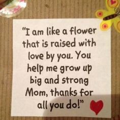 Use with a flower handprint. So sweet for a Mother's Day card!