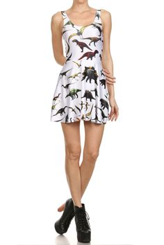 Dinosaur Skater Dress - White | POPRAGEOUS .