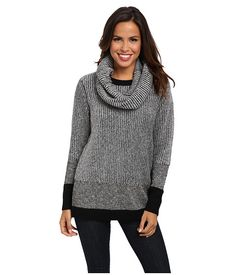 Kenneth Cole New York London Marled Sweater w/ Snood Black/White...SNOOD!
