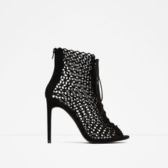 Image 1 of LACE-UP LEATHER HIGH HEEL SANDALS from Zara