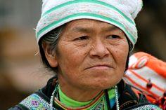 Old woman in Miao village, Guizhou, China