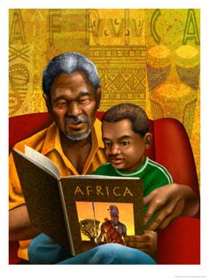 Man and Boy Reading Book About Africa Poster at AllPosters.com