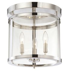 Features:  -Accommodates (3) 60 Watt max E12 candelabra bulbs - not included.  -Not suitable for outdoor use.  -Material: Steel.  Product Type: -Semi flush mount.  Material: -Metal.  Number of Lights: