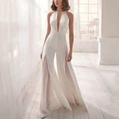 Fashion Sexy Deep V Halter Backless Jumpsuit Wedding Jumpsuit, Backless Jumpsuit, Lace Wedding Dress, Best Wedding Dresses, Bridal Dresses, Wedding Gowns, Lace Dress, White Jumpsuit, Civil Wedding Dresses