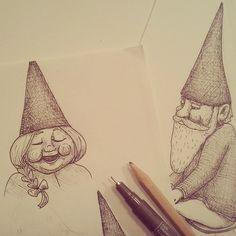 Having fun with the #gnomes. Pasandomelo bien con los #gnomos :) #sketch #ink #art #drawing #fantasy #nordic #dibujo #boceto #tinta #nise #illustration #Ilustración #proyect #norse #norsk